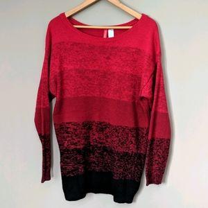 Raspberry Ombre Fade Long Sleeve Oversize Sweater
